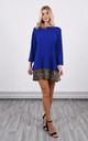 Royal Blue Jumper Dress with Leopard Print Fringe by Lucy Sparks