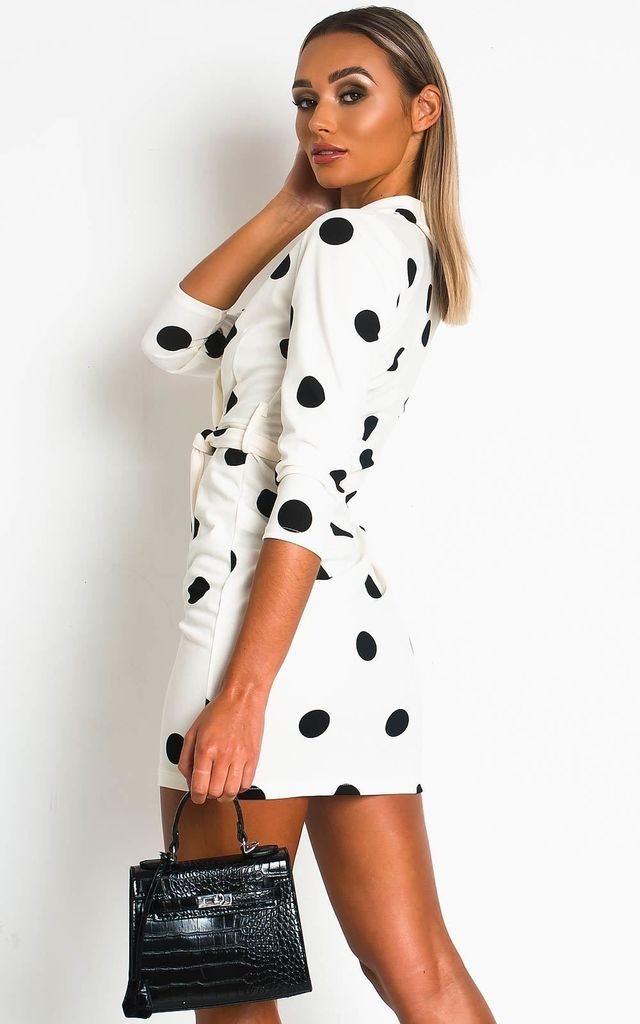 Margot Wrap Mini Dress in White/Black Spot by IKRUSH
