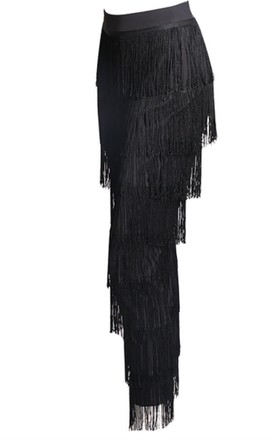 Black High Waisted Trousers with Tassels by Luxy Boutique