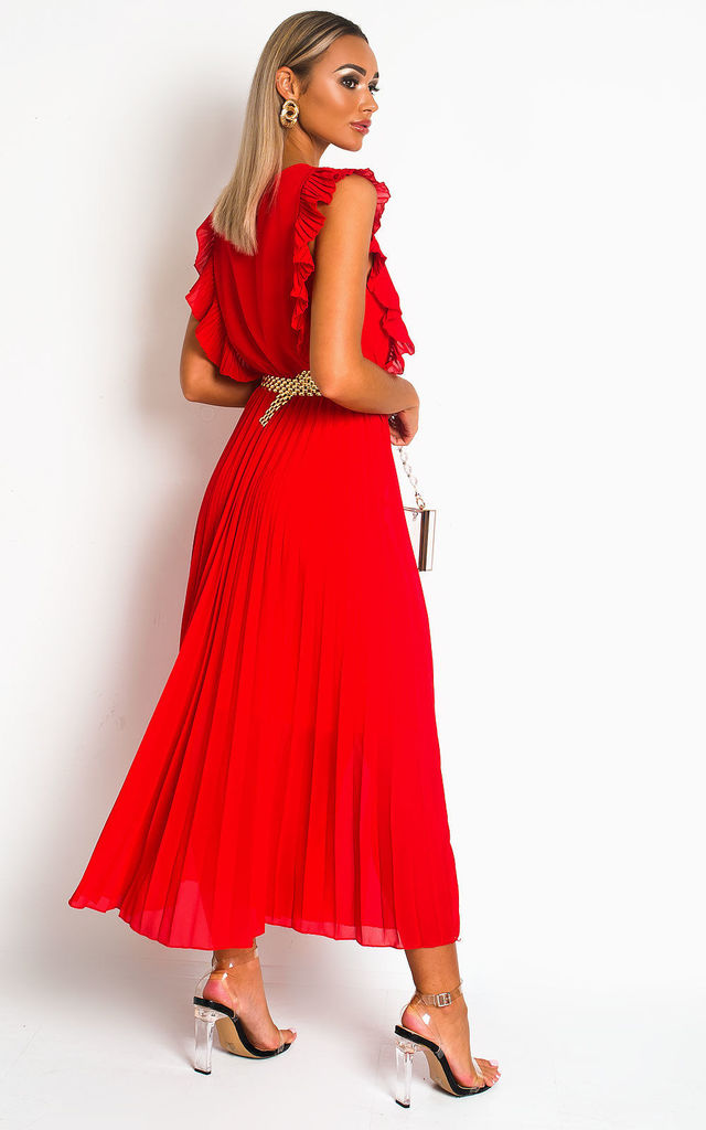 Bryanna Pleated Maxi Dress in Red by IKRUSH