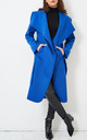 Naomi Waterfall Shawl Collar Coat In Blue by love frontrow
