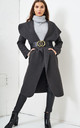 Naomi Waterfall Shawl Collar Coat In Charcoal Grey by love frontrow