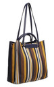 SHOULDER TOTE BAG IN MULTI & BLUE STRIPE by BESSIE LONDON