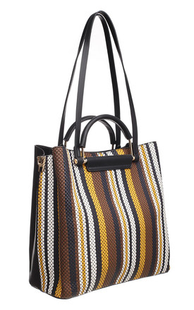 SHOULDER TOTE BAG IN MULTI & BLACK STRIPE by BESSIE LONDON