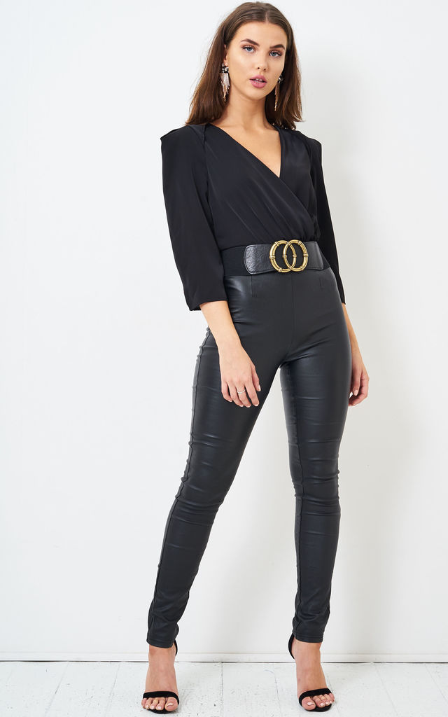 Amari Wrap Effect Long Sleeve Bodysuit in Black by love frontrow