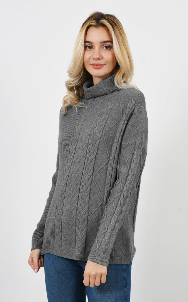 new detailed look great deals on fashion Grey High Neck Cable Knit Jumper By Lucy Sparks