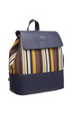 FLAP TOP BACKPACK IN MULTI BLUE STRIPE by BESSIE LONDON