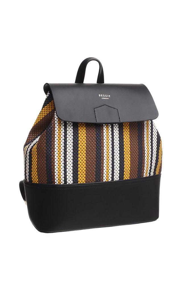 FLAP TOP BACKPACK IN MULTI BLACK STRIPE by BESSIE LONDON