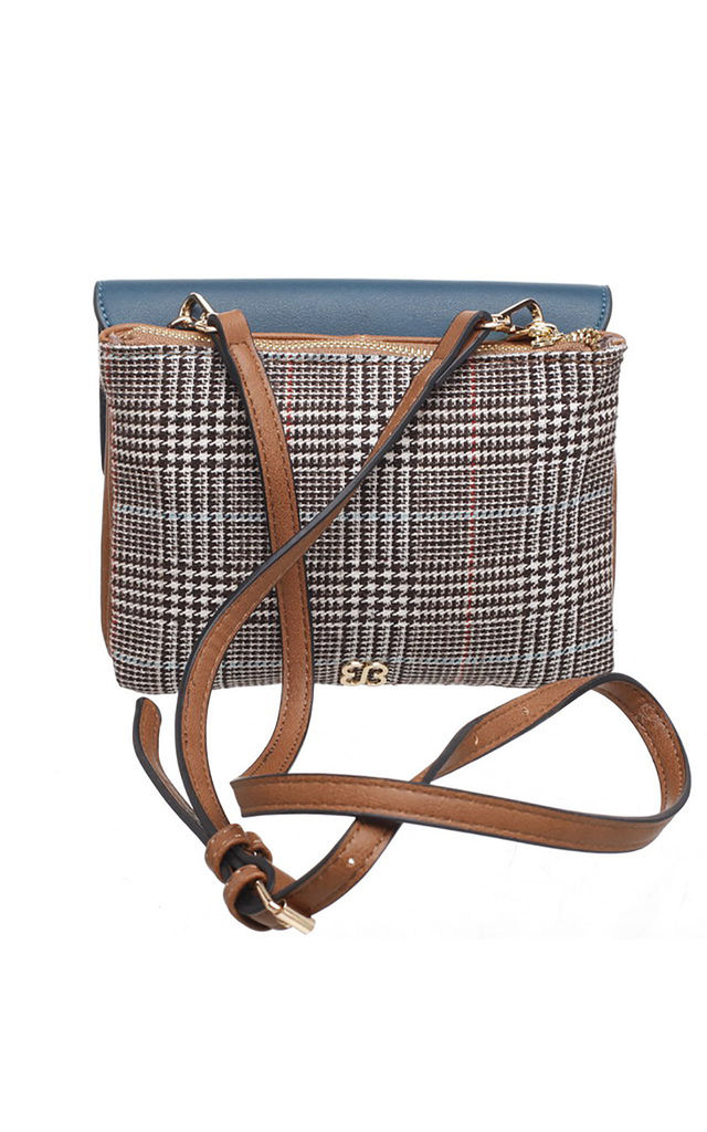 FLAP TOP CROSS BODY BAG IN TWEED/BLUE by BESSIE LONDON