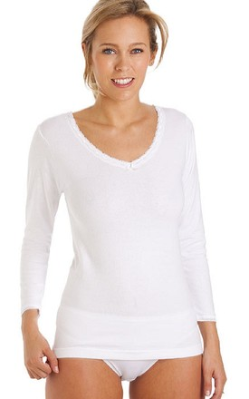 White Long Sleeve Thermal Vest Top by BB Lingerie