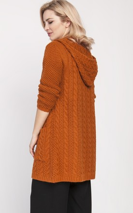 Cardigan with a hood - caramel by MKM Knitwear Design