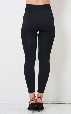 Sadie Black Stretch High Waist Fleece Leggings by love frontrow
