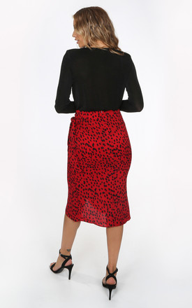 Wrap Midi Skirt in Red Animal Print by Dressed In Lucy