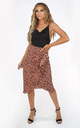 Wrap Midi Skirt in Taupe Animal Print by Dressed In Lucy