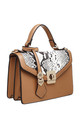 FLAP TOP BAG WITH TWIST LOCK IN CAMEL/SNAKE PRINT by BESSIE LONDON