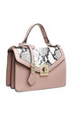 FLAP TOP BAG WITH TWIST LOCK IN PINK/SNAKE PRINT by BESSIE LONDON