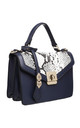 FLAP TOP BAG WITH TWIST LOCK IN NAVY/SNAKE PRINT by BESSIE LONDON