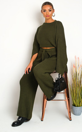 Jojo Knitted Trousers & Top Co-ord in Khaki by IKRUSH