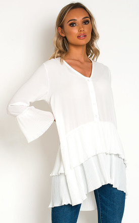 Diana Pleated Shirt Tunic Dress in White by IKRUSH