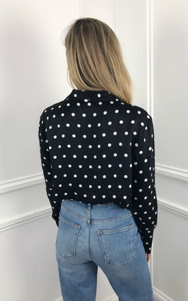 EXCLUSIVE Amara shirt in black polkadot by Pretty Lavish