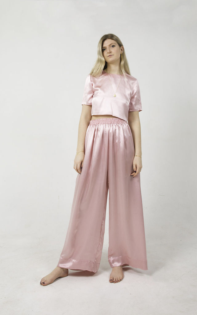 Silk Trousers & Top Pyjama Set in Dusty Pink by Nina Rose