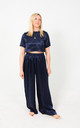 Silk Trousers & Top Pyjama Set in Navy by Nina Rose