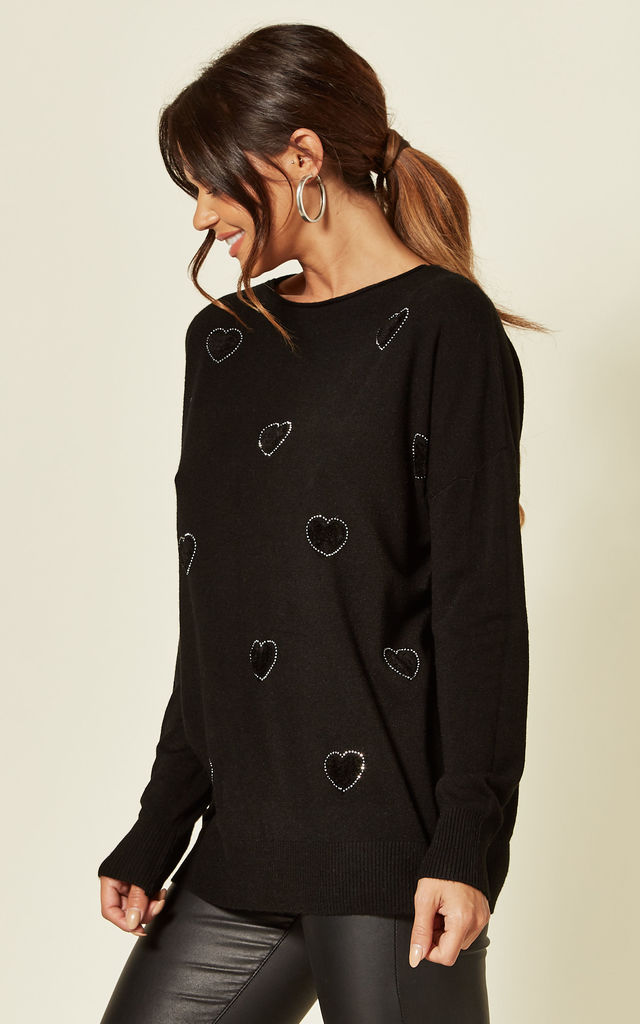 JOY BLACK HEART DIAMANTE JUMPER by Blue Vanilla