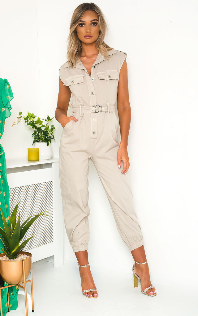 Nala Tie Waist Button Up Utility Jumpsuit in Beige by IKRUSH