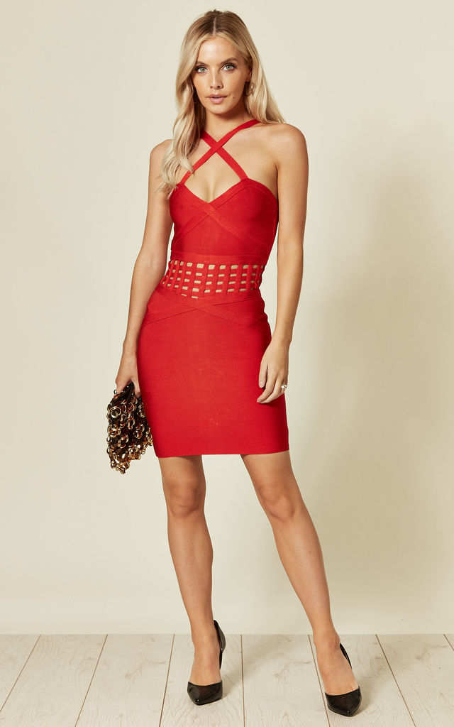 Red Bandage Mini Dress With Caged Waist Detail by LOVEMYSTYLE