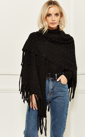 Fringed Shawl With Studded Detail In Black by Bella and Blue Product photo