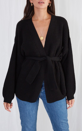 Arden Tie Cardigan   Black by Pretty Lavish Product photo