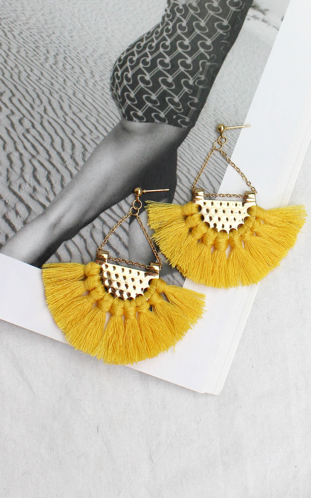 Bright Yellow Tassel Earrings by HAUS OF DECK