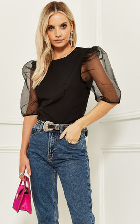 Top With Mesh Puff Sleeve In Black by Bella and Blue Product photo