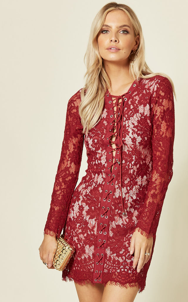 Red Lace Long Sleeve Mini Dress With Lace Up Front by LOVEMYSTYLE