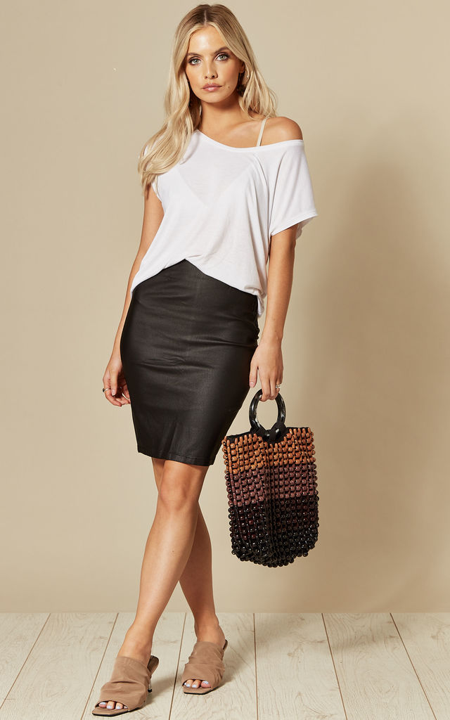 Coated Short Skirt in Black by Pieces