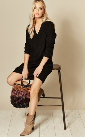 Knitted V Neck Dress In Black by Pieces Product photo