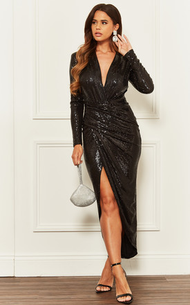 Black Sequin Deep V Wrap Over Dress by John Zack Product photo