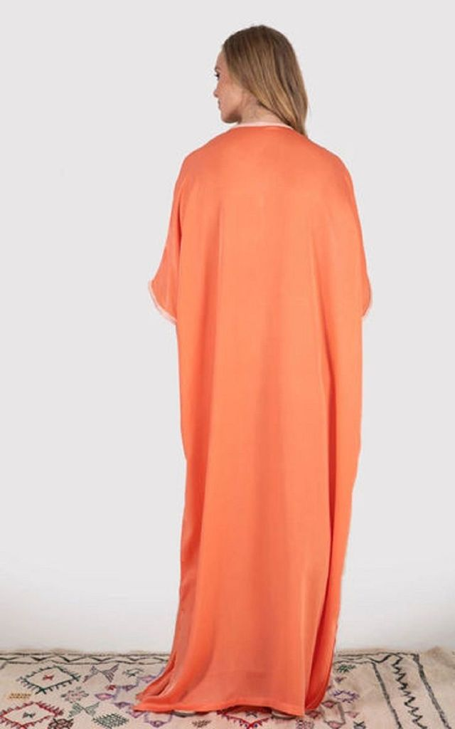 Sacree Kaftan Maxi Dress in Salmon Orange by Diamantine