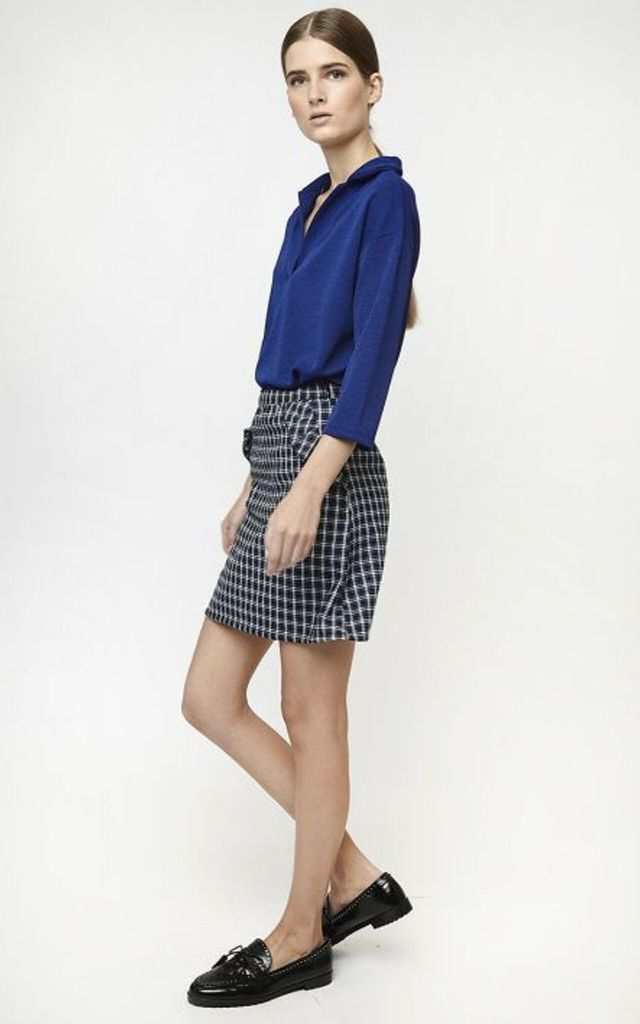 MINI SKIRT IN BLUE CHECK PRINT by Miss Red