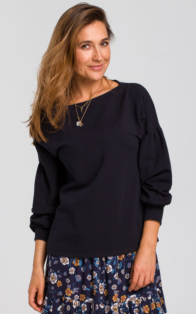 Puff Sleeve Blouse in Navy Blue by MOE