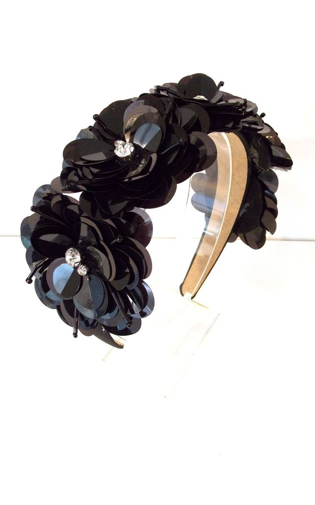 Black Flower and Sequin Hairband by Olivia Divine Jewellery