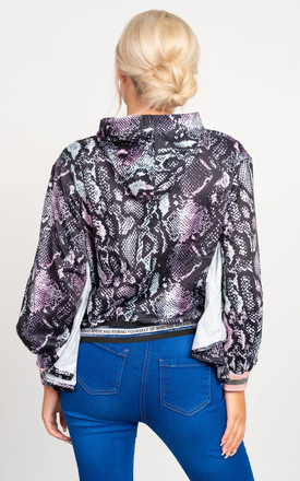 Cici Hoodie in Black and Purple Snake Print by Miss Attire