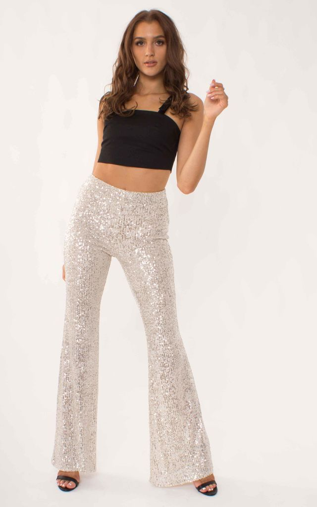 High Waist Sequin Flared Trousers in Champagne by Ettie