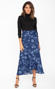 Maxi Wrap Skirt in Blue Floral Print by likemary