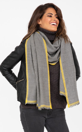 Oversized Merino Wool Scarf in Black/Yellow Houndstooth Check by likemary