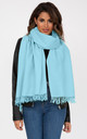 Oversized Merino Wool Pashmina Scarf in Crystal Blue by likemary