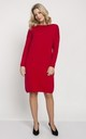 Knitted dress in red, long sleeve midi dress by MKM Knitwear Design