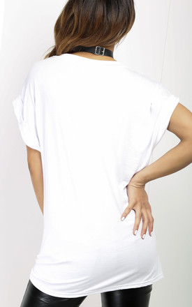 Oversized Slogan Print TShirt In White by Oops Fashion