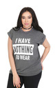 Oversized Slogan Print TShirt In Charcoal by Oops Fashion