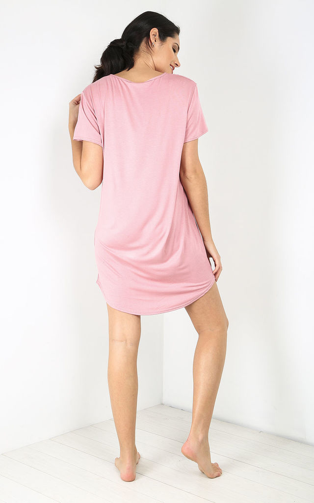 'Wifey' Slogan Print Night Dress in Rose by Oops Fashion